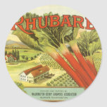 Vintage Vegetable Can Label Art, Rhubarb Farm Round Sticker