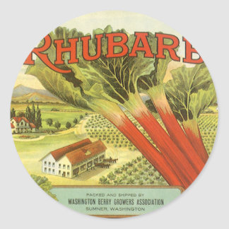 Vintage Vegetable Can Label Art, Rhubarb Farm Classic Round Sticker