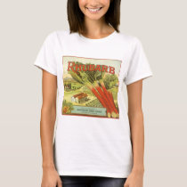 Vintage Vegetable Can Label Art, Rhubarb Farm T-Shirt