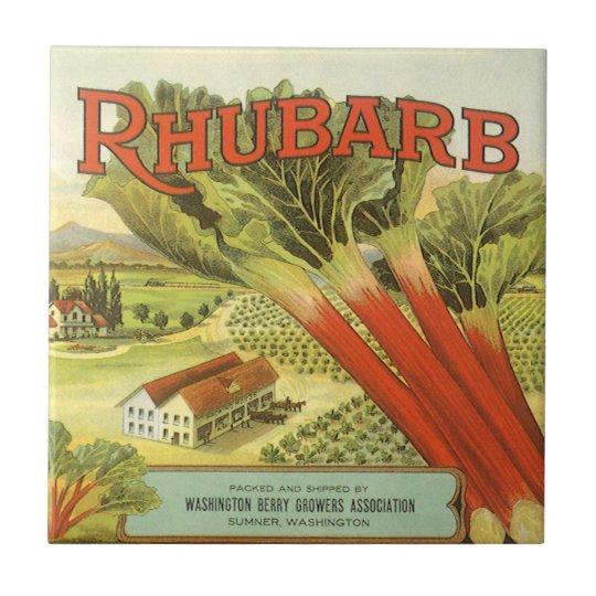 Vintage Vegetable Can Label Art, Rhubarb Farm Tile