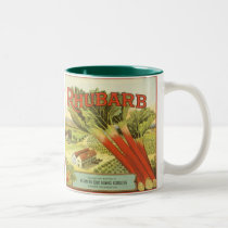 Vintage Vegetable Can Label Art, Rhubarb Farm Two-Tone Coffee Mug