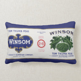 Vintage Vegetable Can Label Art, Winsom Peas Lumbar Pillow