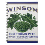 Vintage Vegetable Can Label Art, Winsom Peas Note Book