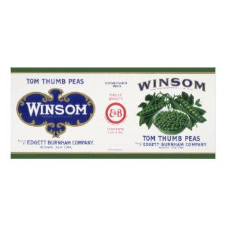 Vintage Vegetable Can Label Art, Winsom Peas Rack Card