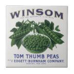 Vintage Vegetable Can Label Art, Winsom Peas Tile