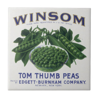 Vintage Vegetable Can Label Art, Winsom Peas Tile