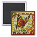 Vintage Vegetable Label Art, Butterfly Brand Beans 2 Inch Square Magnet