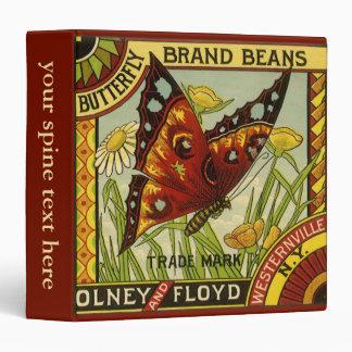 Vintage Vegetable Label Art, Butterfly Brand Beans Vinyl Binders