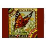 Vintage Vegetable Label Art, Butterfly Brand Beans Card