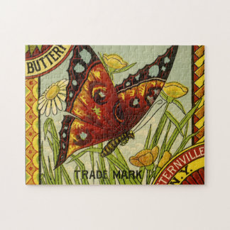 Vintage Vegetable Label Art, Butterfly Brand Beans Jigsaw Puzzle