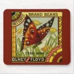 Vintage Vegetable Label Art, Butterfly Brand Beans Mouse Pad