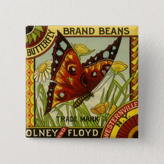 Vintage Vegetable Label Art, Butterfly Brand Beans Pinback Button