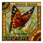 Vintage Vegetable Label Art, Butterfly Brand Beans Posters