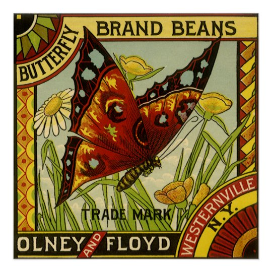 Vintage Vegetable Label Art, Butterfly Brand Beans Poster