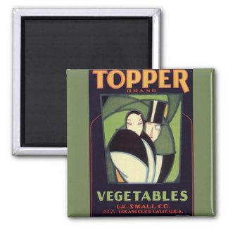 Vintage Vegetable Label, Art Deco Couple, Topper 2 Inch Square Magnet