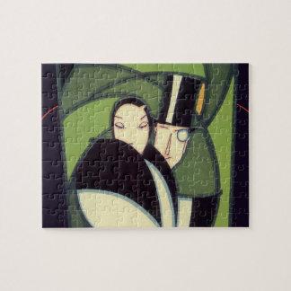 Vintage Vegetable Label, Art Deco Couple, Topper Puzzle