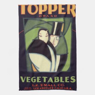 Vintage Vegetable Label, Art Deco Couple, Topper Towel