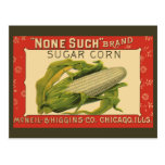 Vintage Vegetable Label Art, None Such Sugar Corn Post Card