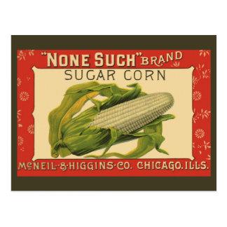 Vintage Vegetable Label Art, None Such Sugar Corn Postcard