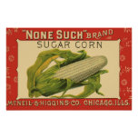 Vintage Vegetable Label Art, None Such Sugar Corn Posters