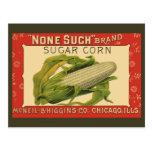 Vintage Vegetable Label, None Such Sugar Corn Post Card