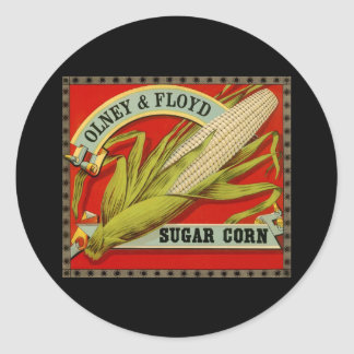 Vintage Vegetable Label, Olney & Floyd Sugar Corn Classic Round Sticker