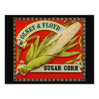 "Vintage Vegetable Label, Olney & Floyd Sugar Corn 4.25"" X 5.5"" Invitation Card"