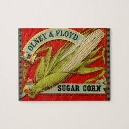Vintage Vegetable Label, Olney & Floyd Sugar Corn Jigsaw Puzzle