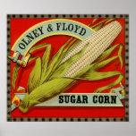 Vintage Vegetable Label, Olney & Floyd Sugar Corn Poster