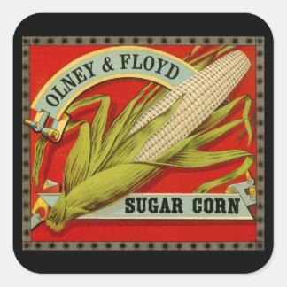 Vintage Vegetable Label, Olney & Floyd Sugar Corn Square Sticker