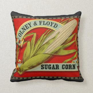Vintage Vegetable Label, Olney & Floyd Sugar Corn Throw Pillow