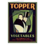 Vintage Vegetable Topper Label, Art Deco Romance