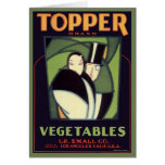Vintage Vegetable Topper Label, Art Deco Romance Card