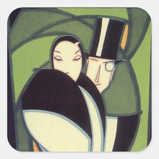 Vintage Vegetable Topper Label, Art Deco Romance Square Sticker