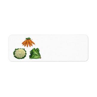 Vintage Vegetables; Carrots, Cauliflower, Lettuce Return Address Label