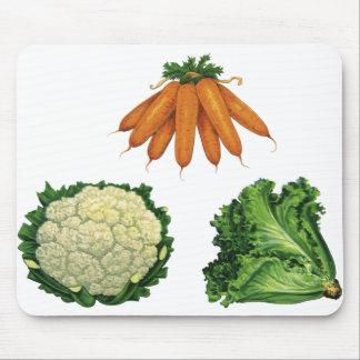 Vintage Vegetables; Carrots, Cauliflower, Lettuce Mouse Pad