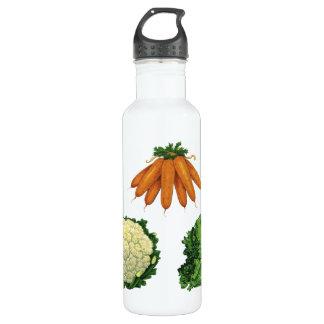 Vintage Vegetables; Carrots, Cauliflower, Lettuce Stainless Steel Water Bottle