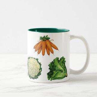 Vintage Vegetables; Carrots, Cauliflower, Lettuce Two-Tone Coffee Mug
