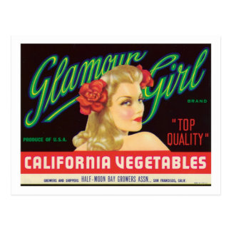 Vintage Vegetables Food Product Label Postcard