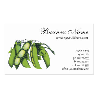 Vintage Vegetables; Lima Beans, Organic Farm Foods Business Card Templates