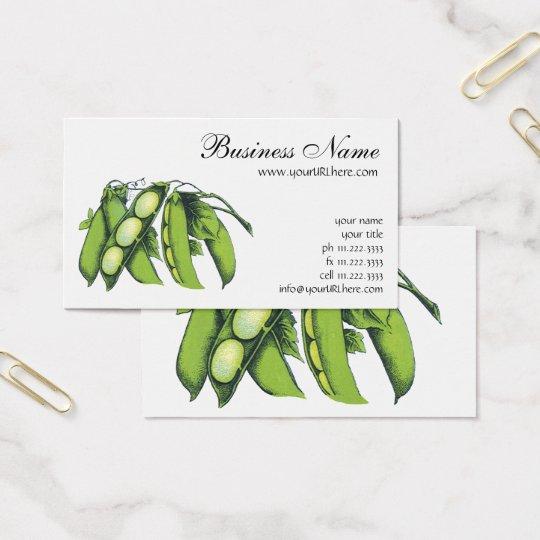 Vintage Vegetables; Lima Beans, Organic Farm Foods Business Card