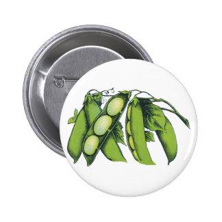 Vintage Vegetables; Lima Beans, Organic Farm Foods Button