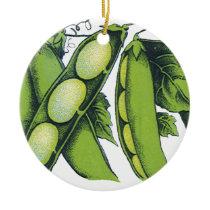 Vintage Vegetables; Lima Beans, Organic Farm Foods Ceramic Ornament