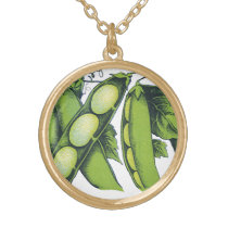 Vintage Vegetables; Lima Beans, Organic Farm Foods Gold Plated Necklace