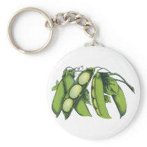 Vintage Vegetables; Lima Beans, Organic Farm Foods Keychain
