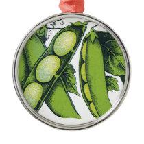 Vintage Vegetables; Lima Beans, Organic Farm Foods Metal Ornament