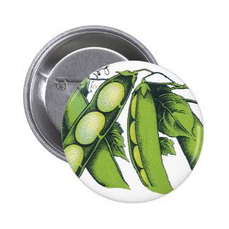 Vintage Vegetables; Lima Beans, Organic Farm Foods Pinback Button