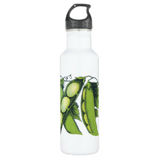 Vintage Vegetables; Lima Beans, Organic Farm Foods Stainless Steel Water Bottle