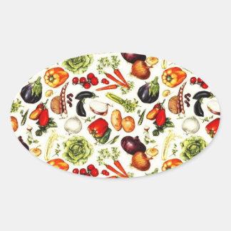 Vintage Vegetables Oval Sticker