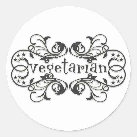 Vintage Vegetarian Classic Round Sticker